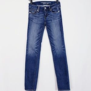 American Eagle stretch mid rise skinny jeans sz 0